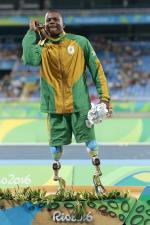 South Africa's Ntando Mahlangu celebrates winning 200m T42 silver at the Rio 2016 Paralympic Games.