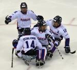 Para ice hockey players celebrate victory