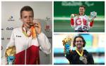 three male Para athletes celebrate with their medals