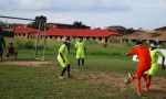 A group of blind female footballers playing