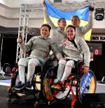Ukraine's women celebrate the defence of their sabre team world title in Rome, Italy.