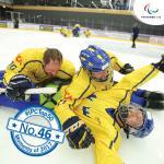 Swedish hockey players celebrate on the ice