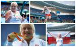 a female Para athlete celebrates winning gold at the Paralympic Games