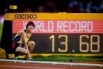 Yiting Shi of China celebrates setting a new world record in the Women's 100m T36 Final at the London 2017 World Para Athletics Championships.
