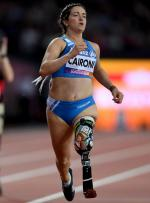 Martina Caironi of Italy crosses the line to win the Women's 100m T42 Final at the London 2017 World Para Athletics Championships.