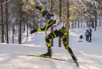 Male standing biathlete racing