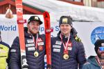 Canada's Mac Marcoux and guide Jack Leitch celebrate two downhill victories at the 2018 World Para Alpine Skiing World Cup Finals in Kimberley, Canada.
