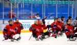 a group of Para ice hockey players celebrating the ice hockey