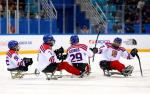 Para ice hockey players celebrating on the ice
