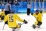 two Para ice hockey players celebrate a goal