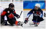 two Para ice hockey players