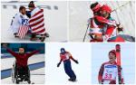 five male Para athletes celebrating medal success