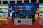South Korean shooters celebrate with their medals following a successful second day of competition at Cheongju 2018