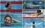 five swimmers in action in the pool