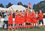 Poland's blind football team celebrates after winning the 2018 Euro Challenge title