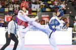 one Para taekwondo fighter kicking another