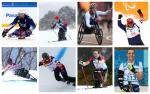 Photo collage of eight athletes
