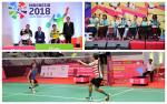 A group of Para athletes on a podium, children playing instruments, and two Para badminton players on court