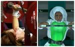 female powerlifters Samira Guerioua and Latifat Tijani competing
