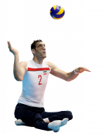 Cutout image of tall male sitting volleyball player hitting the ball
