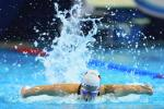 female Para swimmer Denise Grahl performing a butterfly stroke