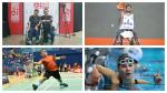 four Para athletes competing in boccia, wheelchair basketball, swimming and badminton