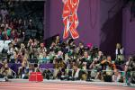 Photographers in the Olympic Stadium during the London 2012 Paralympic Games