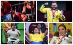 five male and female powerlifters