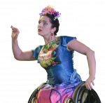 Cutout of female Para dancer in flowery dress