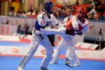 male Para taekwondo fighter Anthony Cappello kicks another fighter in the groin