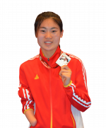 Cutout graphic of Chiense female taekwondo fighter without a a left hand holding her medal with her right hand