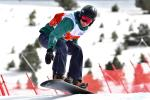 female Para snowboarder Lisa Buschoten riding the banked slalom