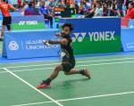 male Para badminton player Krishna Nagar plays a forehand