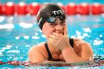 Ellie Simmonds close to tears in the pool after the race