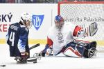 A Para ice hockey player taking a shot in front of the goal-tender