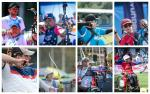 Photo collage of eight Para archers