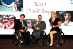Shingo Kunieda, Dylan Alcott and Diede de Groot pose to the camera while holding their ITF World Champion awards