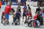 Russian boccia players with their coach