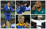 Picture collage of five judoka either with their medals or celerbating