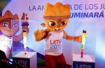 Lima 2019 mascot poses between two torches for the Parapan American Games