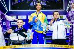 Brazilian powerlifter Lucas dos Santos happy on the podium