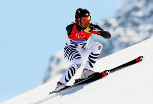 Gerd Schoenfelder of Germany competes in the Men's Super G
