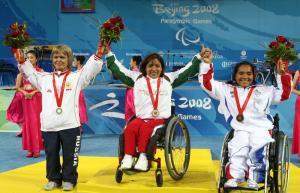 Amalia Perez celebrating victory