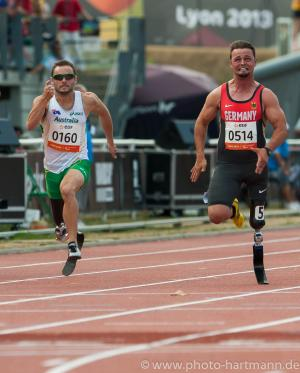 Popow vs Reardon men's 100m T42 Lyon 2013