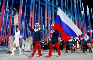The Russian Federation team enter the stadium during the Opening Ceremony of the Sochi 2014 Paralympic Winter Games