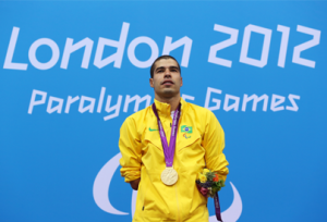 A picture of a man duirng a medal ceremony