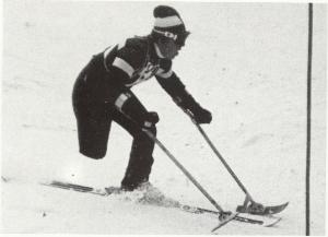 Athlete during the Alpine skiing events in Ornskoldsvik Paralympic Games
