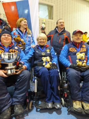 Team Russia Wheelchair Curling celebrating