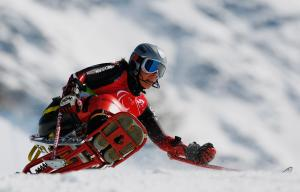 Athlete practicing Giant Slalom