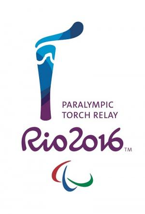Logo showing a torch and the letters Rio 2016